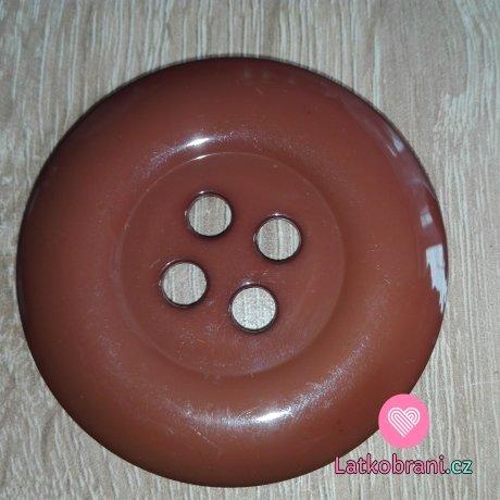 Knoflík mega velký čokoládově hnědý