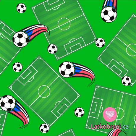 """Teplákovina potisk fotbalové hřiště a míče s českou """"stopou"""""""