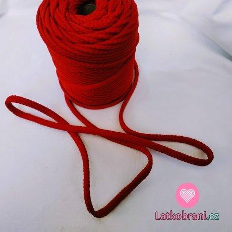 Šnůra kulatá oděvní PES 7 mm tmavě červená