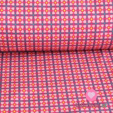 Softshell mříže, kytičky na růžové s fleecem