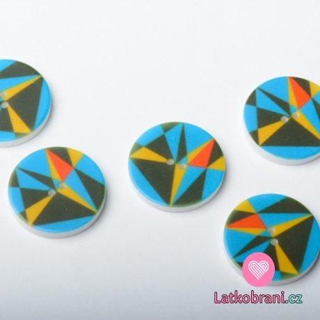 Knoflík potisk geometrické tvary - tyrkysový