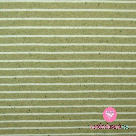 Úplet bílé proužky na melange zelené