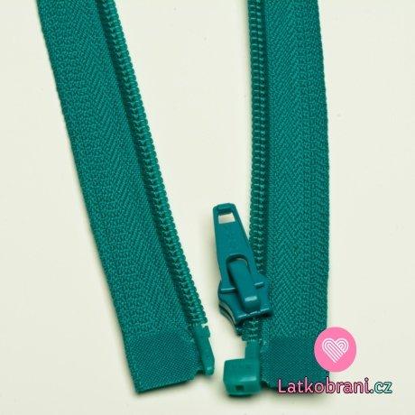 Zip spirálový dělitelný smaragdově zelený 60cm