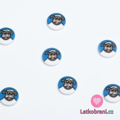 Knoflík kulatý, dětský s ovečkou na modré