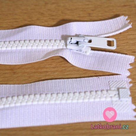 Zip kostěný dělitelný 70cm bílý