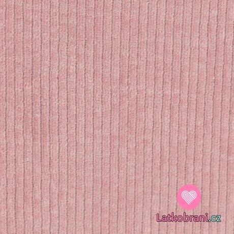 Elastický manšestr růžový