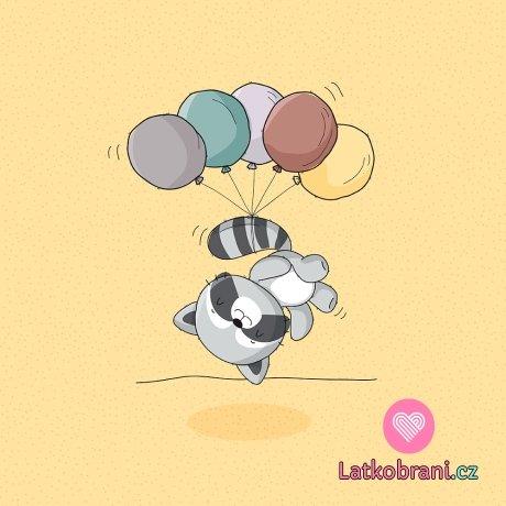 Panel roztomilý mýval s balónky
