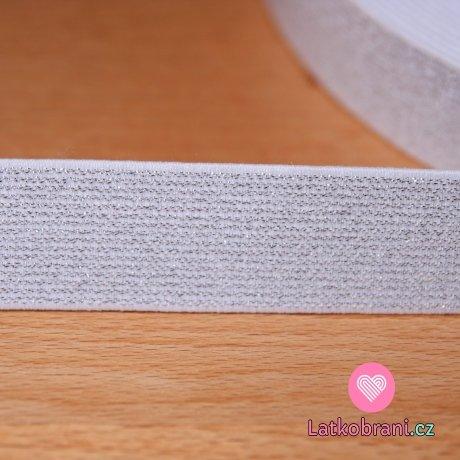 Guma elastická třpytivá stříbrná bílá