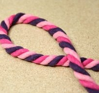 Šňůra kroucená fialová růžová 14mm