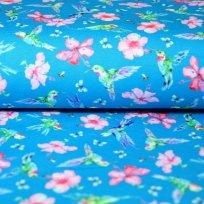 Teplákovina květy s kolibříkem na modré
