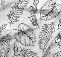 Teplákovina potisk listy černé a světle šedé na bílé