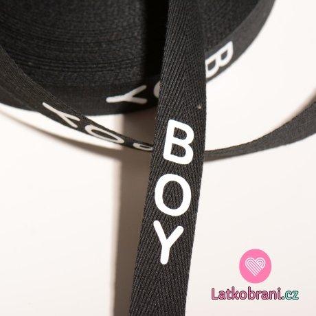 Stuha na oblečení s nápisem BOY černá