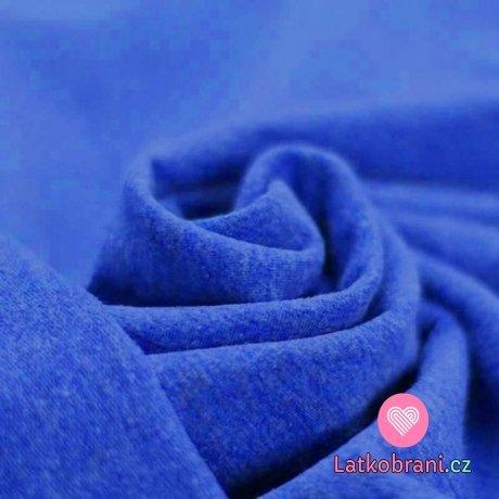Teplákovina barevná příze kobaltově modrá melé