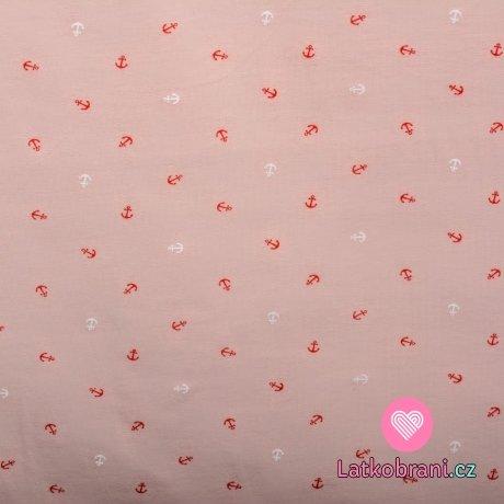 Úplet potisk nepravidelné bílé a červené kotvičky na světlince růžové