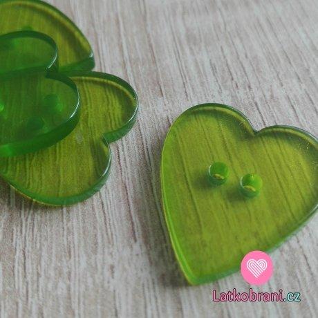 Knoflík srdíčko hladké, průhledné zelené