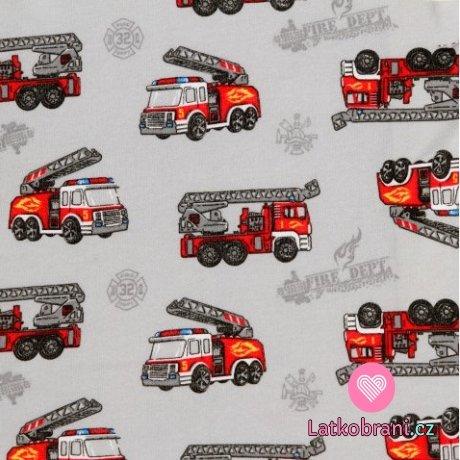 Bavlněný úplet hasičské auto na šedé