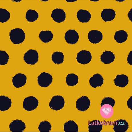 Úplet potisk nepravidelné černé puntíky na okrové
