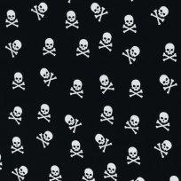 Bavlněné plátno lebky na černé