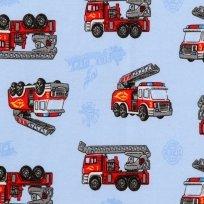 Bavlněný úplet hasičské auto na modré