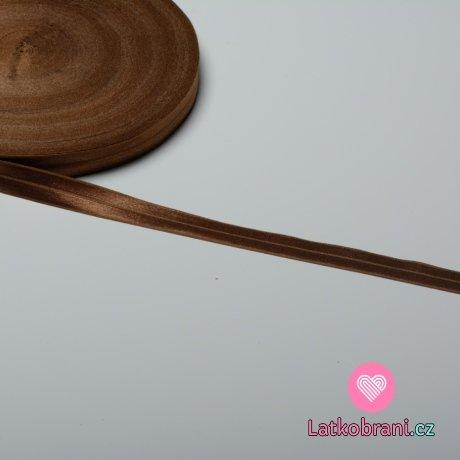 Šikmý proužek / lemovací pruženka čokoládová 19 mm