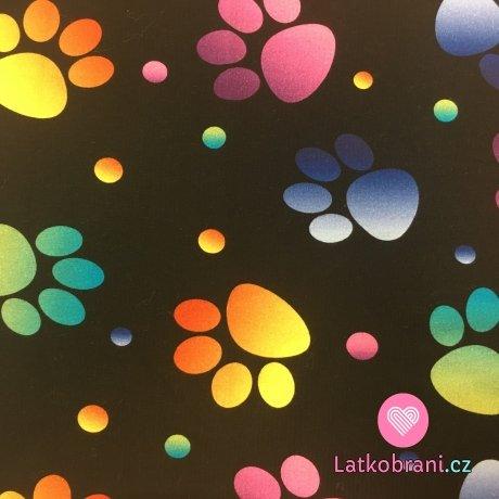 Teplákovina potisk barevné tlapky s puntíky