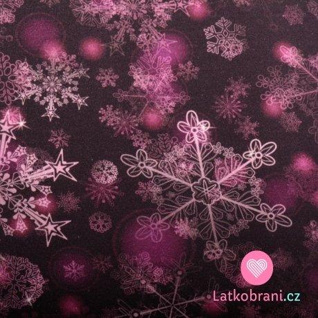 Úplet potisk křehké sněhové vločky na temně fialové