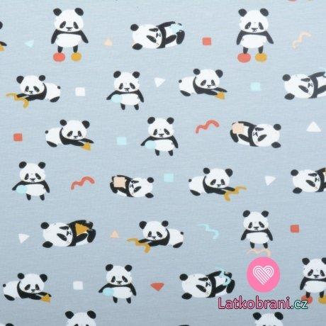 Úplet potisk hravá panda na šedé, BIO