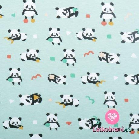 Úplet potisk hravá panda na mintové, BIO