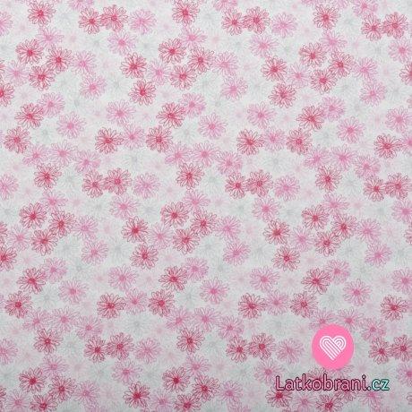 Bavlněný úplet jemné růžové květinky