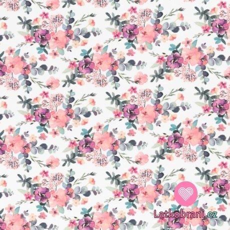 Úplet potisk pastelové květy na bílé