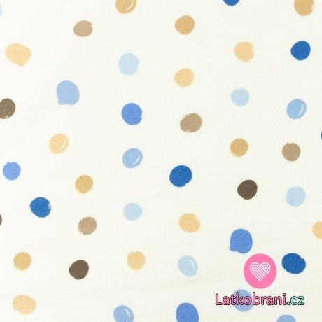 Úplet potisk nepravidelné puntíky do modra na bílé