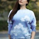 Teplákovina s příměsí modalu potisk mraky na modré