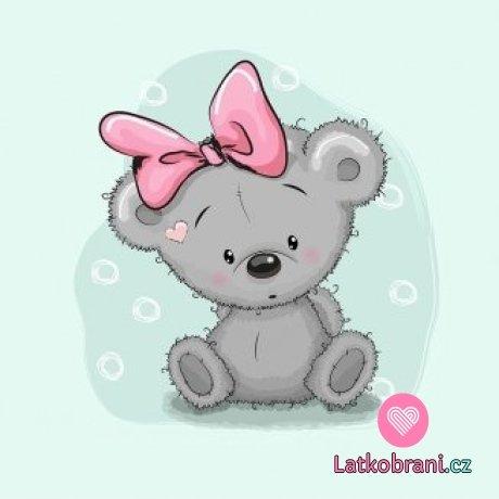 Panel medvídek šedý s růžovou mašlí na modré