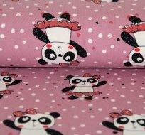 Úplet panda v sukýnce na růžové s puntíky -ZBYTEK