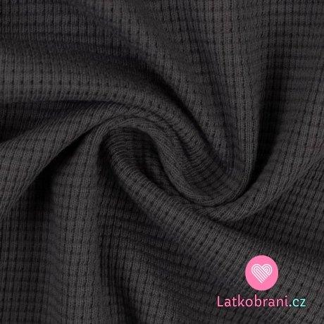 Bavlněná vaflovina jednobarevná tmavě šedá