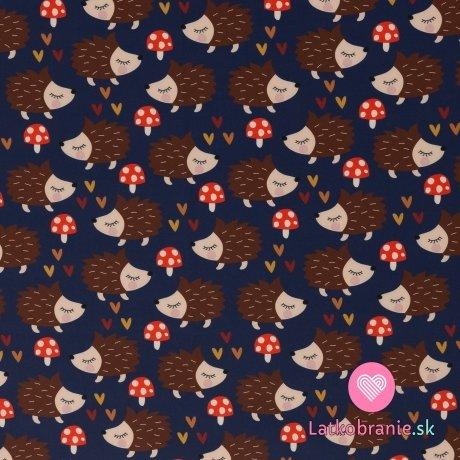 Softshell potisk ježci s muchomůrkami na tmavě modré s fleecem