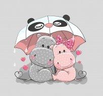 Panel hrošíci pod deštníkem na šedé