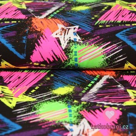 Úplet neonové trojúhelníčky na tmavém podkladu