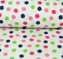 Bavlněný úplet barevné puntíky kuličky na bílé