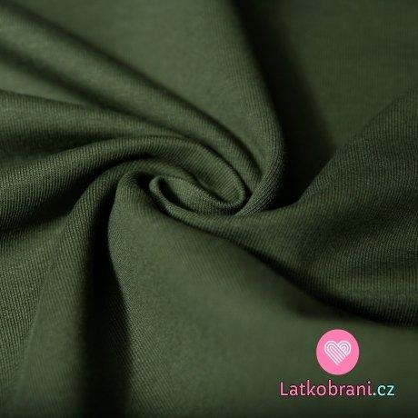 Jednobarevná teplákovina khaki tmavá 290g