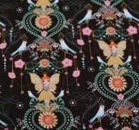 Teplákovina počesaná motýlí princezna s ptáčky mezi kvítky na černé