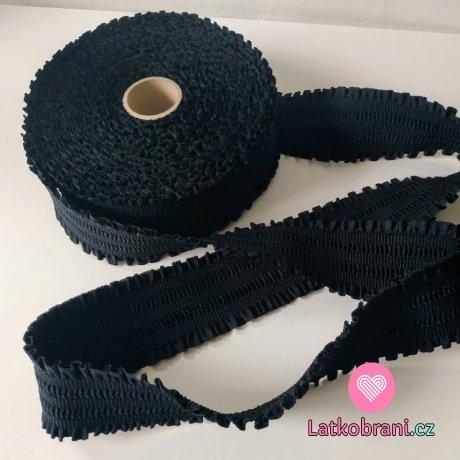 Pruženka oděvní volánková černá 6 cm