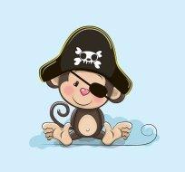 Panel pirát opička na modré