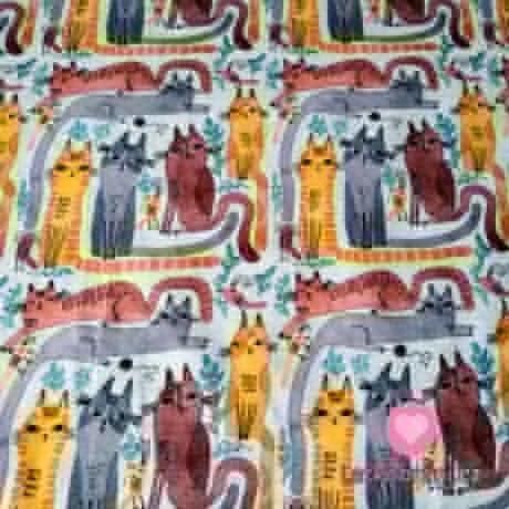 Teplákovina potisk parta barevných koček na šedém melé