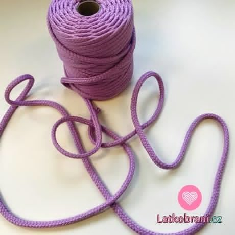 Šňůra oděvní kulatá PES 7 mm fialová lila