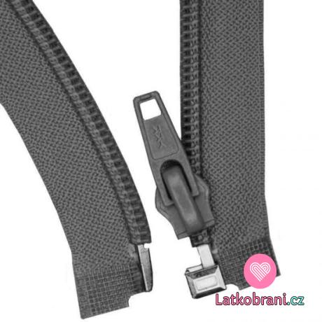 Zip spirálový dělitelný tmavě šedý 55 cm