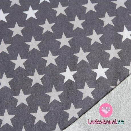Softshell hvězdy šedé, bílé na šedé (2,5cm)