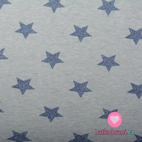 Teplákovina počesaná modré třpytivé hvězdičky na šedém melé