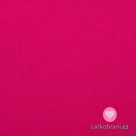 Jednobarevný, oboulícní bavlněný úplet fuchsiově růžový