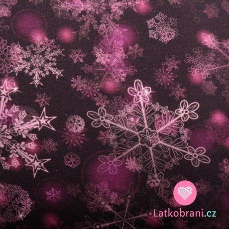 Teplákovina potisk křehké sněhové vločky na temně fialové